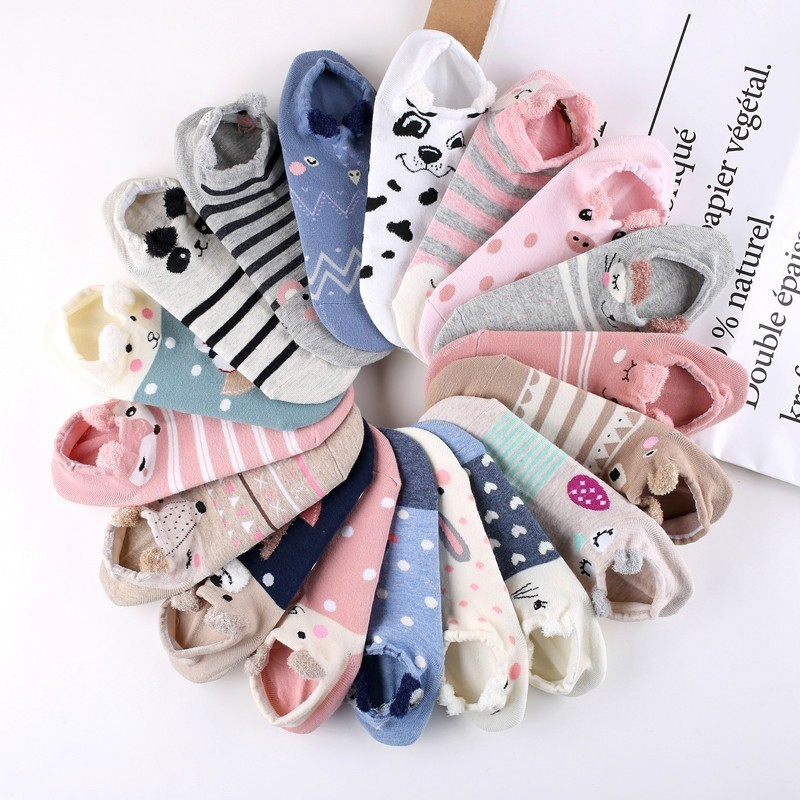 2020 Spring Cute Animal Cotton Socks Women Cartoon Boat Socks Female Kawaii Cat Fox Dog Summer Women's Short Socks Soft Funny