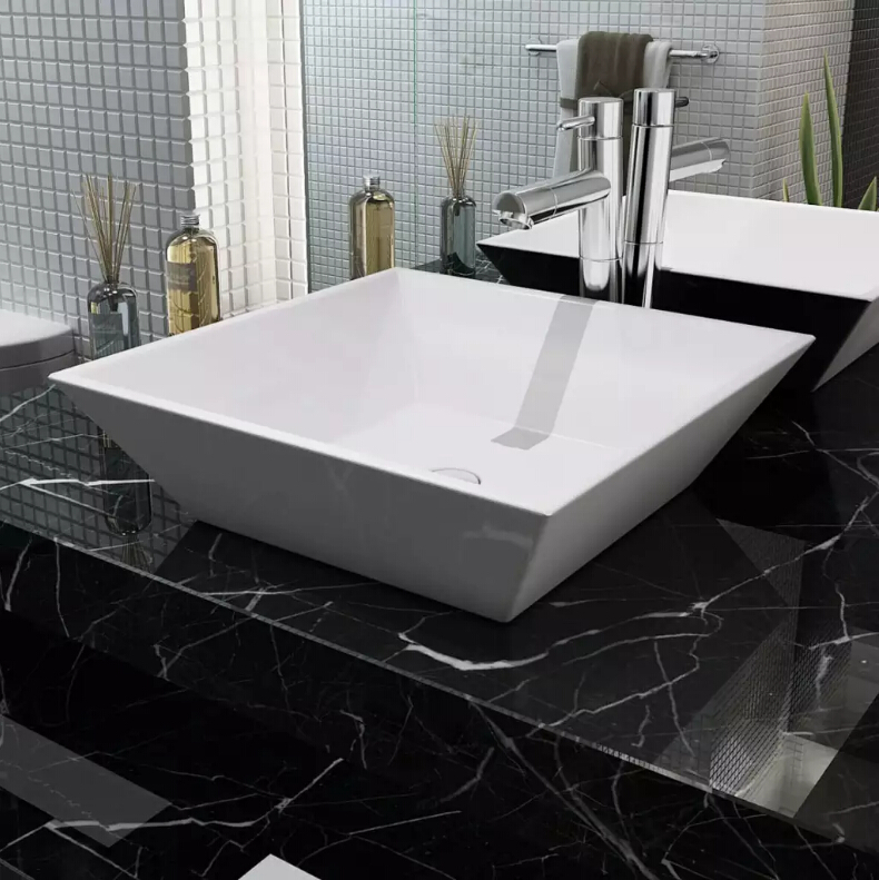 vidaXL Basin Square Ceramic White 41,5x41,5x12cmvidaXL Basin Square Ceramic White 41,5x41,5x12cm