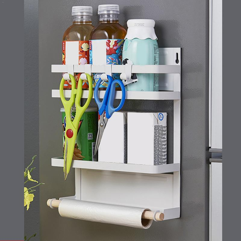 US $33.38 34% OFF|Magnetic Refrigerator Rack Magnetic Bath towel storage  Magnets Kitchen Storage Shelf Paper Holder Organizer Wall mounted Hanger-in  ...