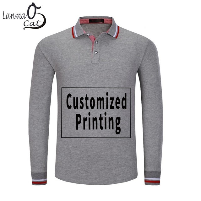 1e12f771 Lanmaocat Men Full Sleeves Polo Tee Shirts Logo Printed Mens Polo Shirts  Plus Size Golf Polo Shirts For Men Women Free Shipping