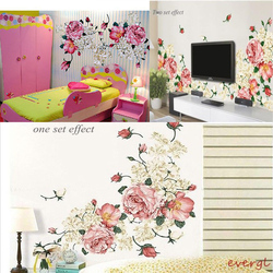 70X50CM Luxury Peony Flowers Wall Sticker Decal Bedroom Living room DIY Flower Removable PVC Art Home Decorations for Kids Room