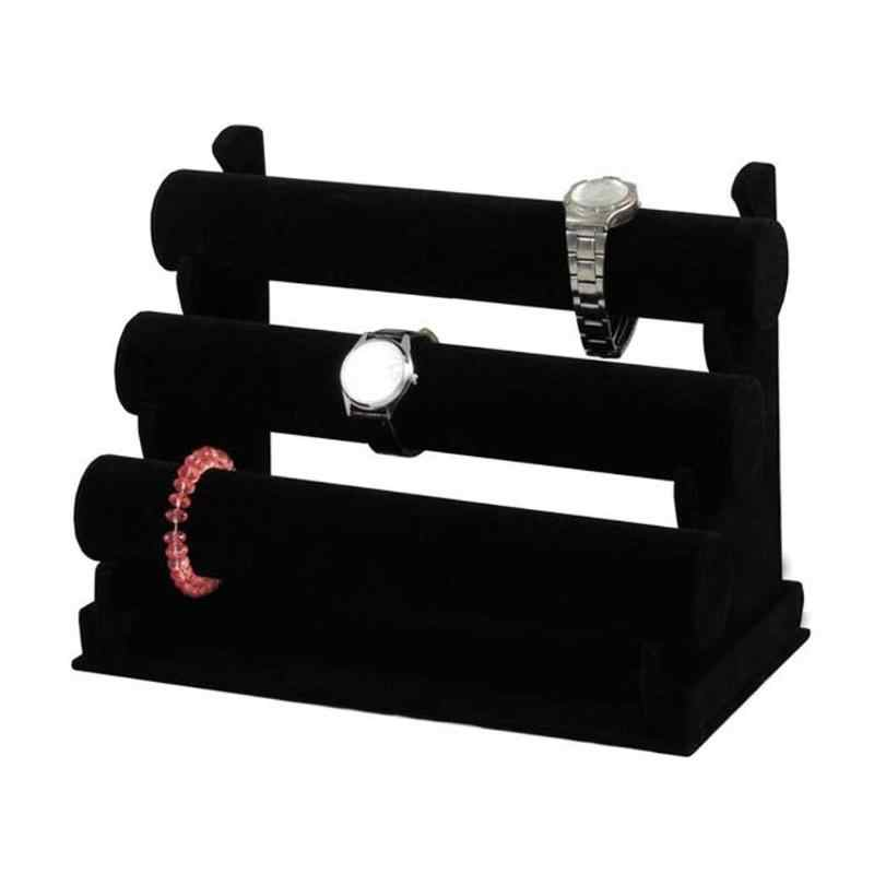 Portable 3-Tier Jewelry Bracelet Watch Bangle Display Holder Stand Showcase T-bar Organizer Holder Jewelry  Display