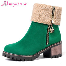 fd5c7334af7 Lasyarrow Women Winter Warm Mid Calf Boots Zipper Platform Casual Shoes  Woman Gladiator Round toe Women