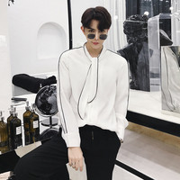2019 New Korean youth handsome style hair stylist striped long sleeved hawaiian shirt male loose tide color Beige Free shipping