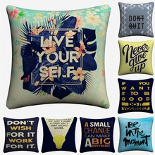 Never Give Up Motivation Quote Decorative Linen Cushion Covers For Sofa 45x45cm Throw Pillow Case Home Decor Pillowcase Almofada