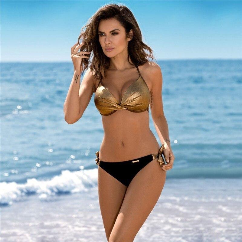 Classical Sexy Women Two Piece Swimsuit Adjustable Tie Waist Backless Bikinis 2019 Sale Ruffle Bright Haute Swimwear Large Size in Bikinis Set from Sports Entertainment