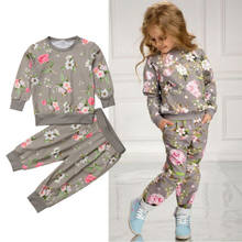 UK 2-7Year Kids Baby Girl Cotton Clothes T-shirt Top Pants Outfit Sets Tracksuit(China)
