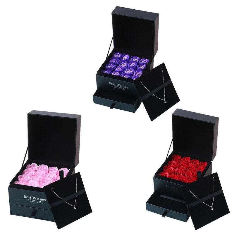 16pcs/Box Red Rose Flower Scented Soap Bath Body Petal Perfumed Soap Makeup Cosmetic Box Wedding Valentine Day Gift