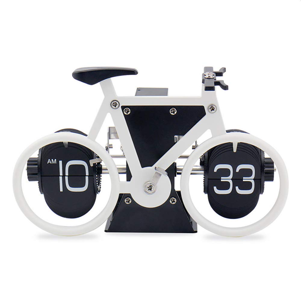 Automatic Page Turning Clock Creative Bicycle Turning Clock Desktop Silent Clock Suitable For Home Office Desktop Decorat