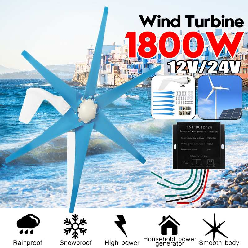 S2 1800W 12V/24 V 6 Blade Wind Turbines+Controller Wind Generator Power Windmill Energy Turbines Charge Home Or CampingS2 1800W 12V/24 V 6 Blade Wind Turbines+Controller Wind Generator Power Windmill Energy Turbines Charge Home Or Camping