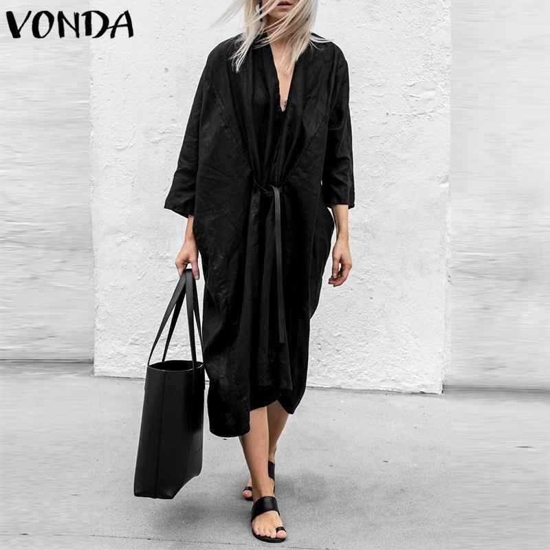 VONDA Women Sexy Cardigan Dress 2019 Deep V Neck 3/4 Sleeve Front Open Black Club Party Dresses Casual Loose Mid-Calf Vestidos