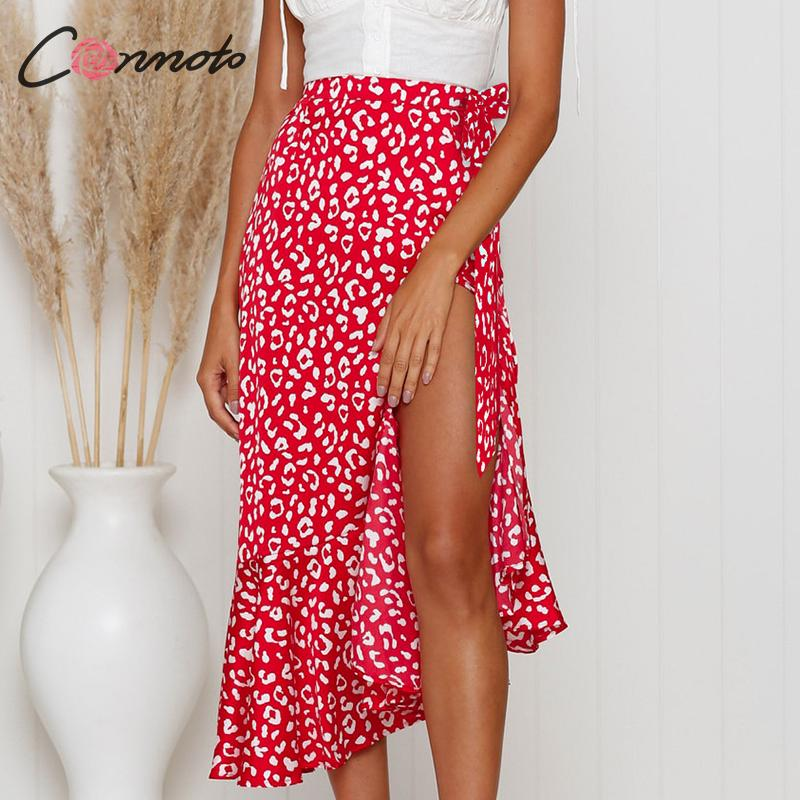 Conmoto Casual Fashion Red Print Wrap Skirt Women 2019 Summer High Waist Ruffle Thin Mid Skirts Girl Holiday Skirts Plus Size