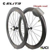 58mm Depth Dimple Carbon Fiber wheelset 700c Road Bike Wheel Clincher Tubular Aero Golf Surface Rim with Powerway R51 Hub