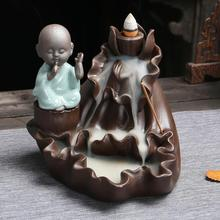 Little Monk Ceramic Censer Backflow Incense Burner Smoke Waterfall Incense Sticks Holder Mountain River Handicrafts Home Decor little monk incense burner smoke waterfall backflow incense holder carp ceramic censer mountain river handicrafts incense holder