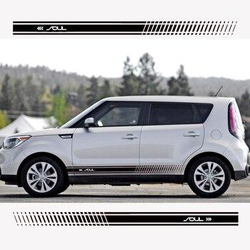 Stylish car body sticker vinyl body decal racing stripe sticker for Kia Soul Car accessories headset icon white png