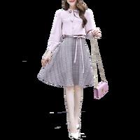 Shirt Skirt Women Spring Two Piece Clothing Set French Fashion Fairy Skirt Suit Chiffon Top Bow & Plaid Print Skirts OL Vogue
