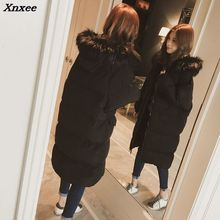2018 Warm Hooded Fur Collar Overknee Long Parka Plus Size Winter Jacket  Women Coat Thick Cotton Padded Loose Inverno Casaco