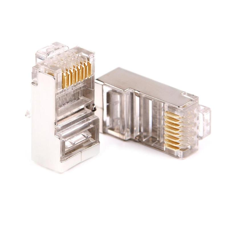 100pcs Crystal 8Pin RJ45 Modular Plug Rj-45 Network Cable Connector Adapter For Cat6 Rj45 Ethernet Cable Plugs Heads