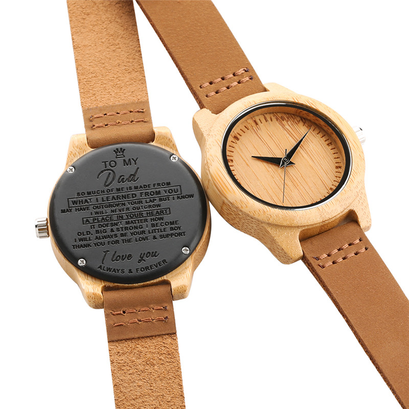 Women Mens Leisure Wood Watch Brown Cowhide Leather Strap Casual Quartz Watch Naviforce Best Gift Wooden Watches For Dad