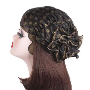Image 3 - Women Lace Hat Flower Bonnet Chemo Cap Muslim Print Head Scarf Islamic Turban Hats Hair Loss Arab Ramadan Beanies Skullies New