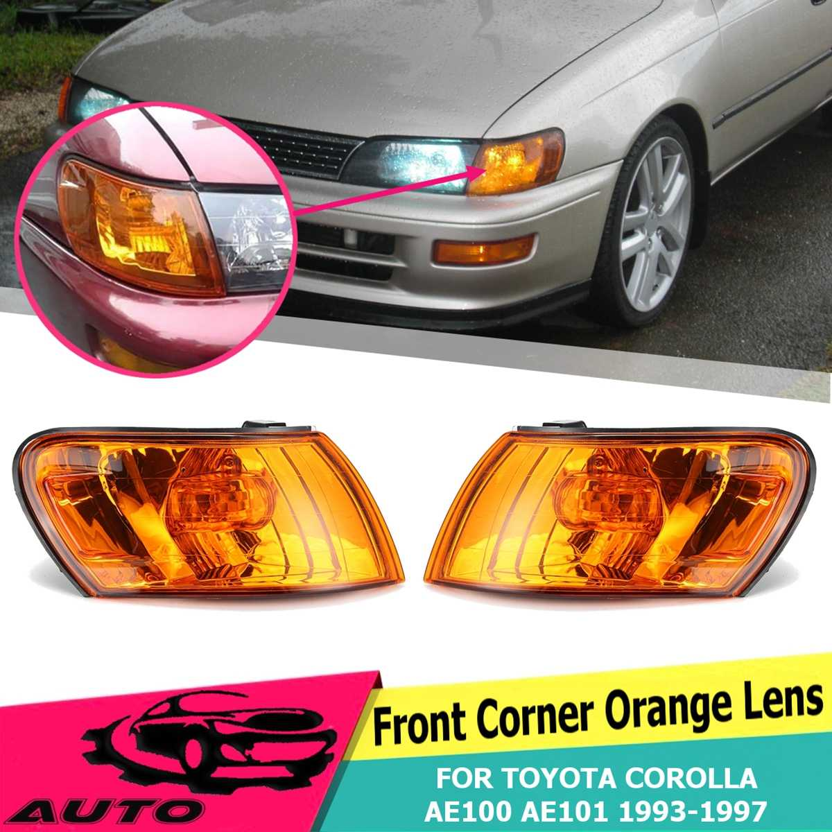 For <font><b>Toyota</b></font> Corolla AE100 <font><b>AE101</b></font> E100 1993 1994 1995 1996 1997 1 Pair Front Signal Coner Light No Bulb Amber Lens Glass Lamp image