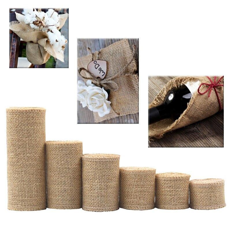 Popular 1M/Roll Crafts Decorative Bag Material Hemp Ribbon Gift Wraping Wedding Party DIY Jute Burlap Ribbon