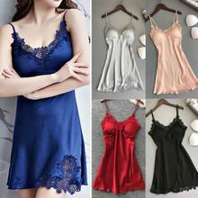 b1d5f35ba 2019 Newest Hot Women Satin Silk Lace Lingerie Night Dress Ladies Nightgown  Sleepwear(China)