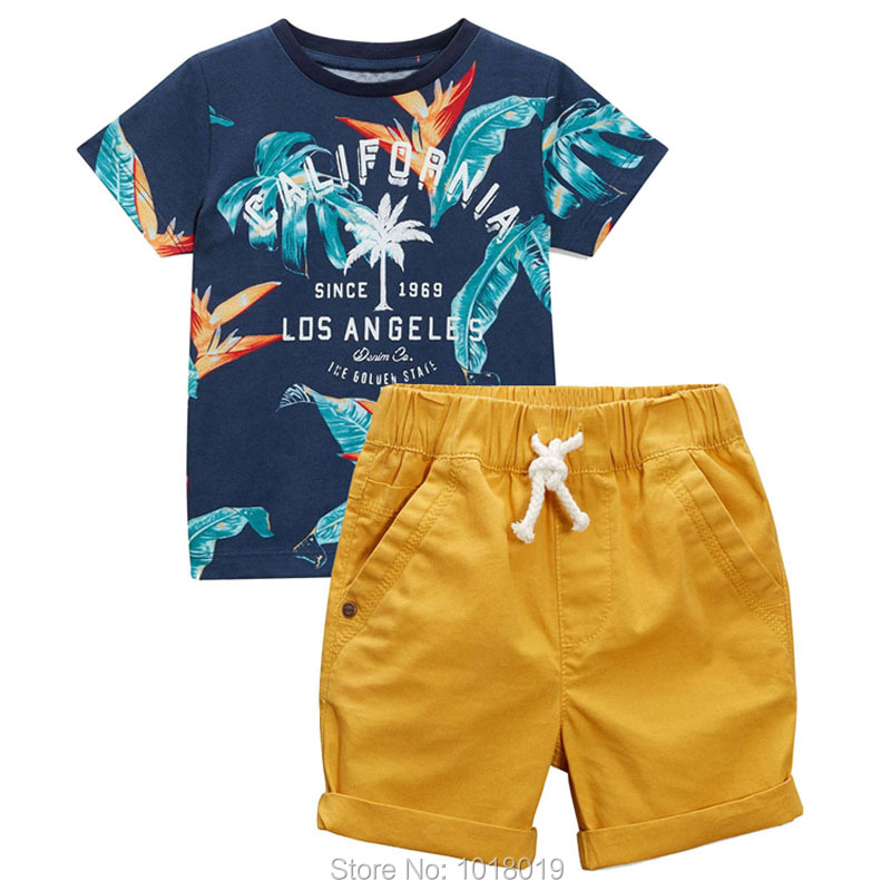 Baby Boys Clothes Sets Kids Brand New 2019 Quality 100% Cotton Summer Children Suits Bebe Short Sleeve T Shirt Pant Boys Outwear(China)