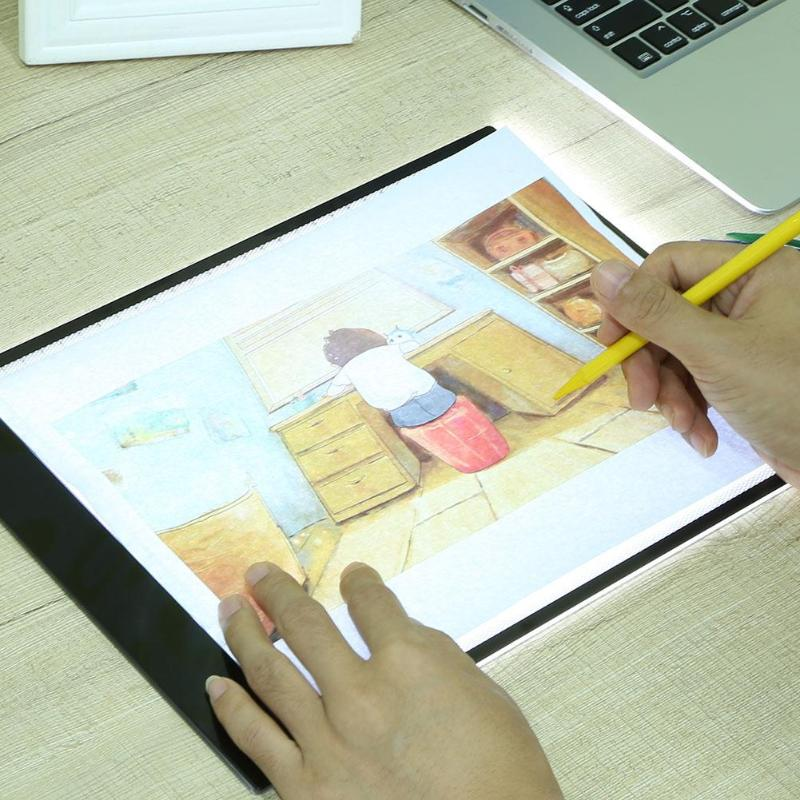Digital Graphic Tablets A4 LED Graphics Artist Thin Art Stencil Drawing Board Light Box Tracing Table Pad Three-level Brightness