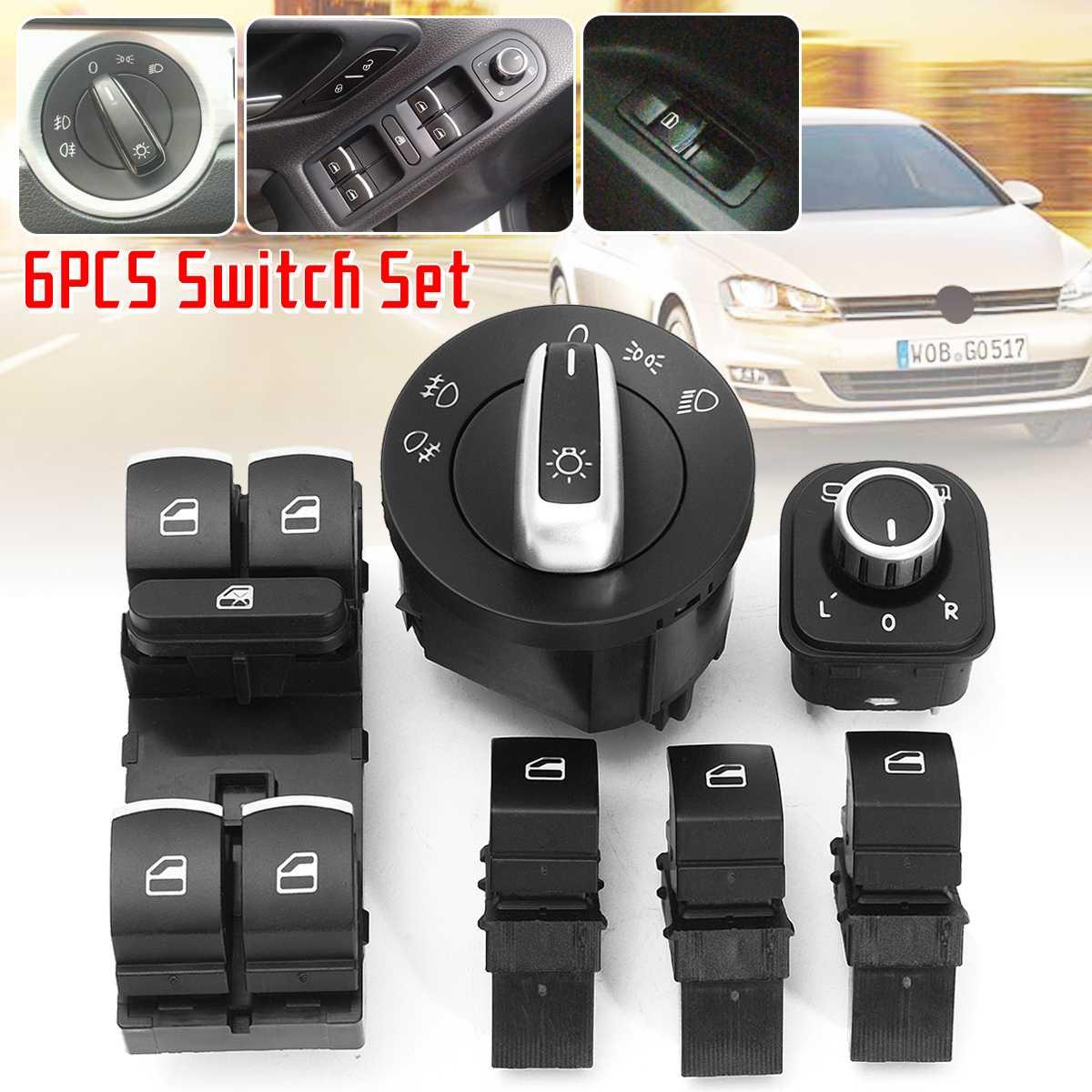 6pcs Car Power Master Window กระจกควบคุมสวิทช์ไฟหน้า 5ND959857 5ND959565B สำหรับ VW Jetta Golf MK5 6