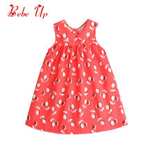 Toddler Girl Summer Cotton Dress Fruit Cherry Print Kids Red A-line Party Dresses Sleeveless Little Girl Fashion Summer Clothing toddler girl floral dress ladybird pattern print little girl fashion a line summer dress children spring fall princess clothing