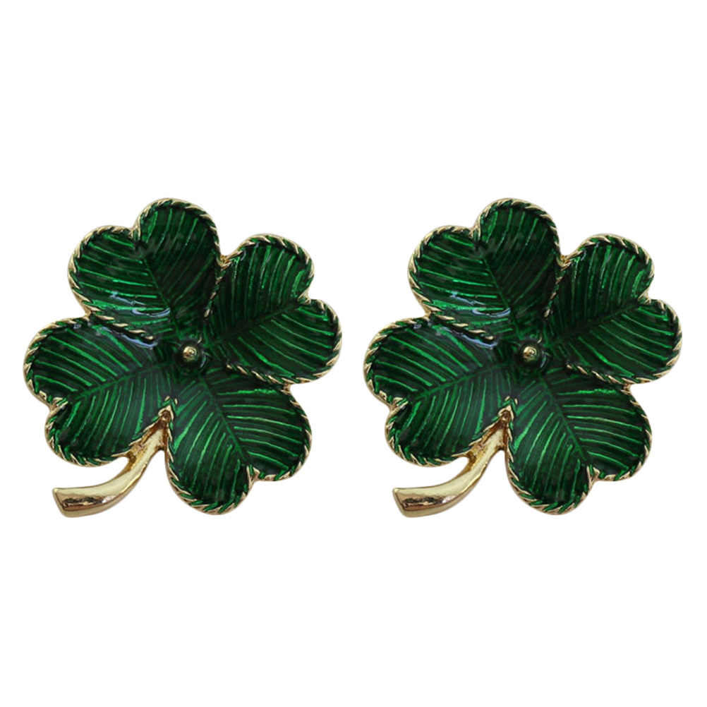 2pcs Shamrock Gold Plated Four Leaf Brooch Clover Retro Lapel Pin St. Patricks Day Accessory (Green)