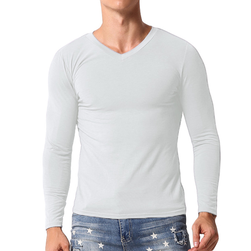 2018 Muscle Tee Mens Long Sleeve T-Shirt V Neck Slim Thermal Underwear Plain Solid Tee Tops Casual T Shirts Hombre Men Clothes