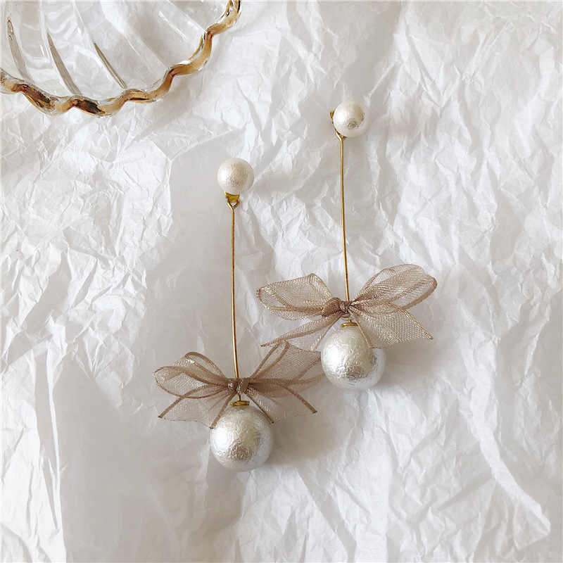 Handmade Cute Sweet Korean Fashion Jewelry Cotton Pearl Lace Bowknot Drop Earrings For Women Ladies Long Gold  Bow Earring