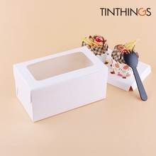 50PCS Cupcake Paper Packaging 2 Cup Cake Holders White Brown Kraft Box Window Gift Wedding Home Party Fovar