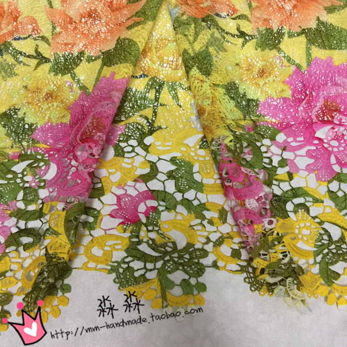 Tissus Patchwork Gradient Yellow Hollow Three dimensional Floral Water Soluble Lace Shawls Smock Decoration Printing Fabrics