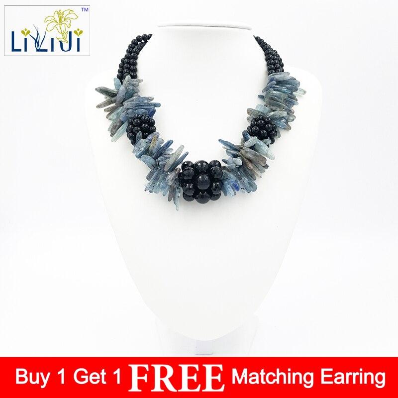 Lii Ji Natural Stone Black Agate,Kyanite beads Handmade Necklace approx 48cmLii Ji Natural Stone Black Agate,Kyanite beads Handmade Necklace approx 48cm