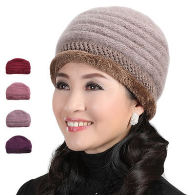 c78f177e037 brand new nitted women winter hat wool Rabbit Fur Knitted Beanies cap  wholesale women s hats Fur Caps Lady Headgear dropship