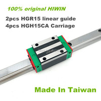 Free shipping 100% original HIWIN 2pcs HGR15 200 300 400 500 600 700 800 1000mm Linear Guide rail + 4pcs HGH15CA HIWIN Carriage