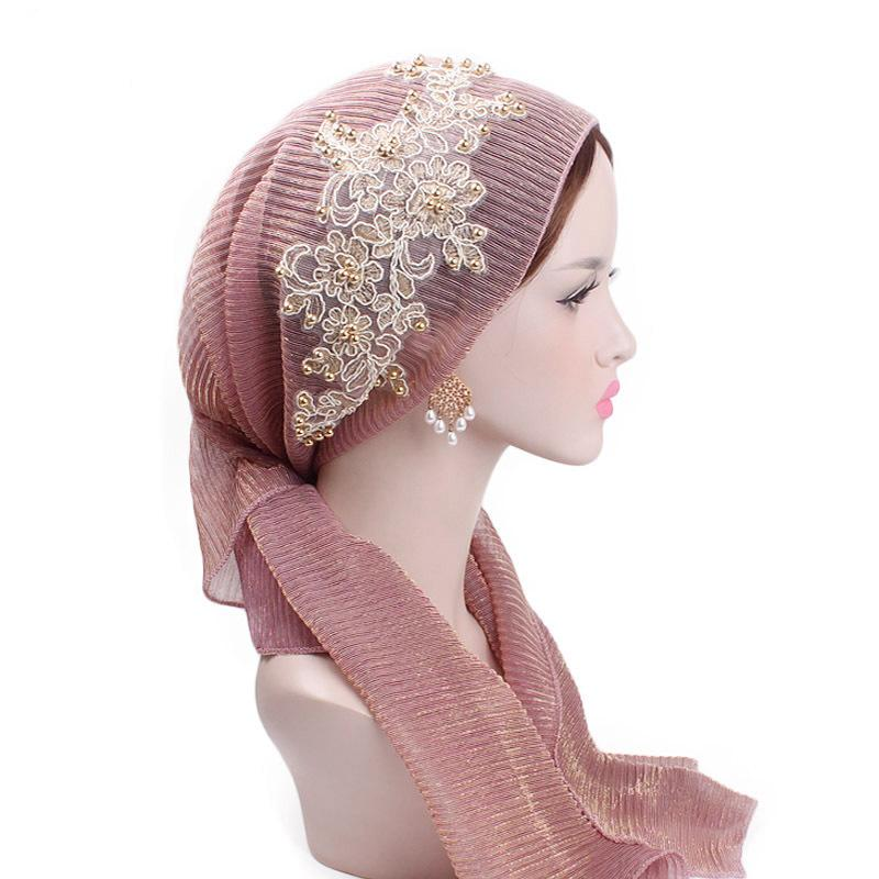 Image 3 - Women Muslim Stretch Turban Lace Flower Long Tail Hijab Scarf Cap  Elegant Bandanas Embroidery Bead Cancer Chemo Head Wrap ScarfIslamic  Clothing