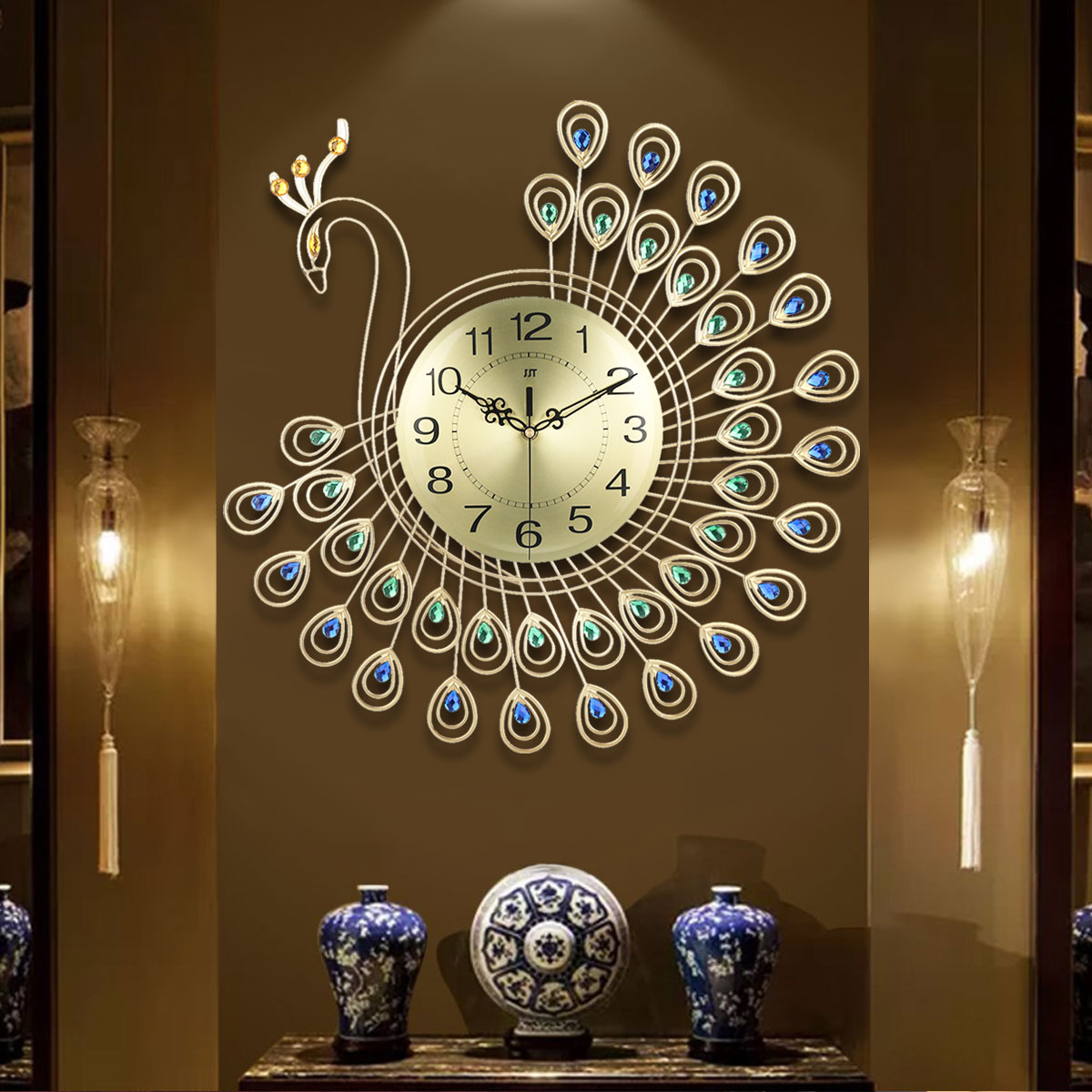 Large 3D Gold Diamond Peacock Wall Clock Metal Watch for Home Living Room Decoration DIY Clocks Crafts Ornaments Gift 53x53cm