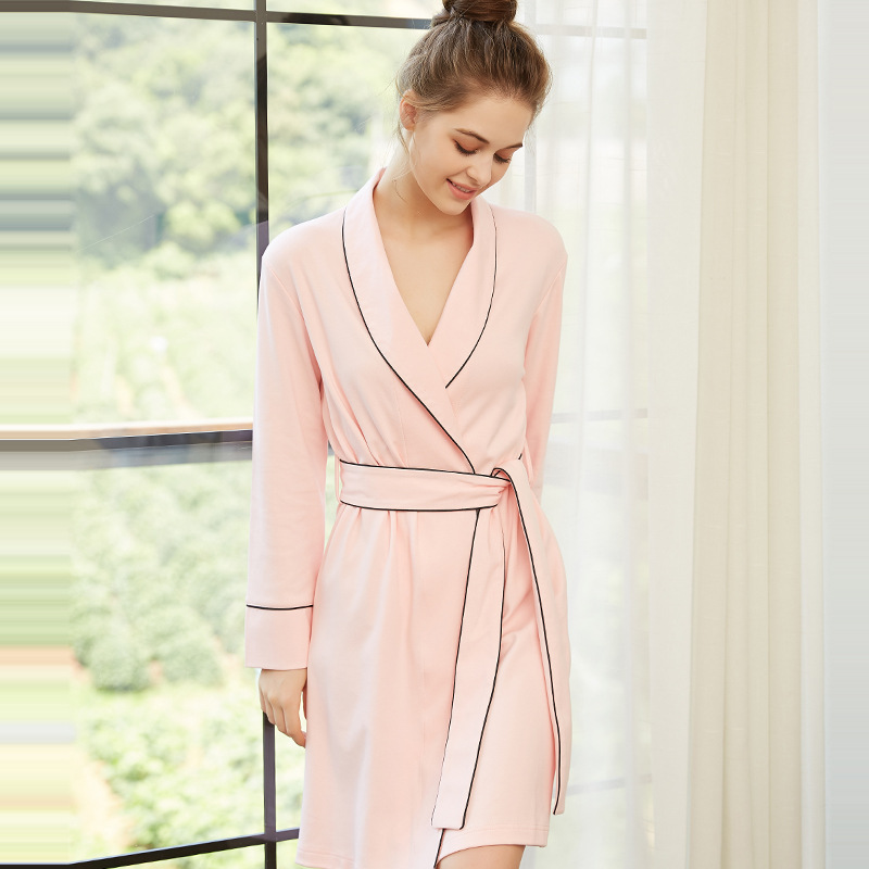 Red pink color spring female bathrobes knit cotton nightgown long sleeve ladies sexy home clothes robe de chambre femme