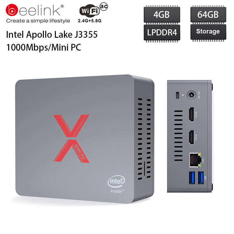 Beelink BT3-X Mini PC Windows 10 Intel Apollo Lake J3355 Intel HD Graphics 500 4GB DDR4 64GB 2.4GHz 5.8GHz WiFi 1000Mbps BT4.0