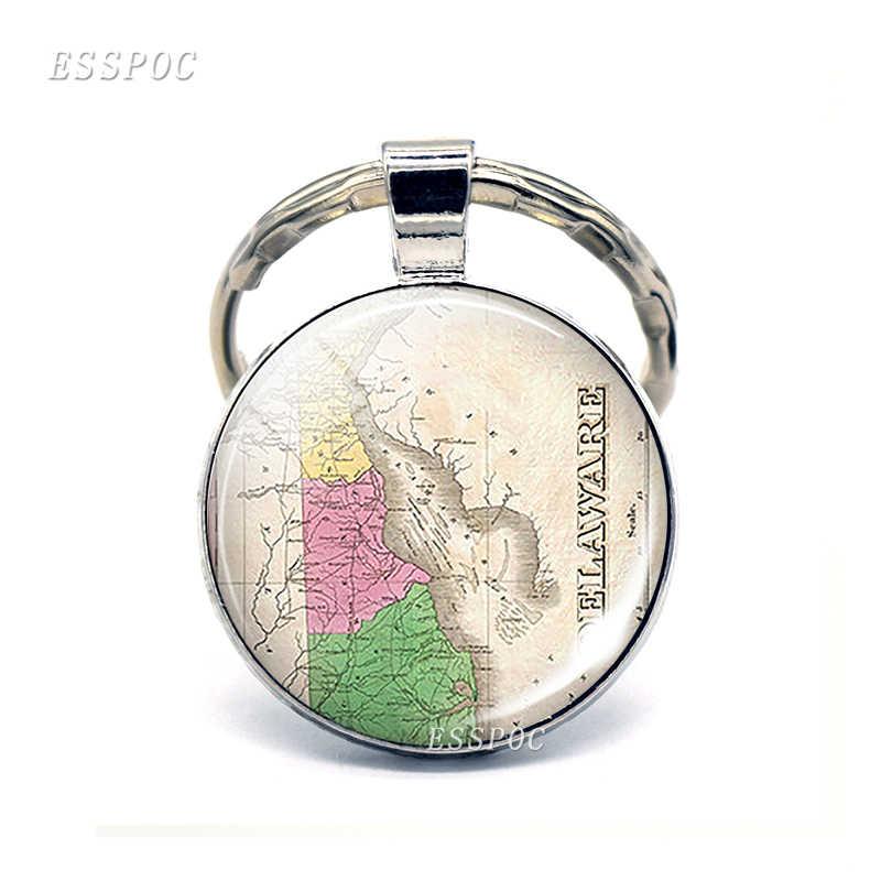 Винтажная американская карта стеклянный выпуклый брелок, Соединенные Штаты, DC Louisiana califoria подвесные брелоки, модный подарок