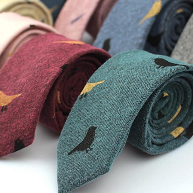Men's Ties Collections Birds Leaves Printed Neck Tie Cotton Soft Handmade Neckwear 6cm*145cm Men Accessories Gifts For Men