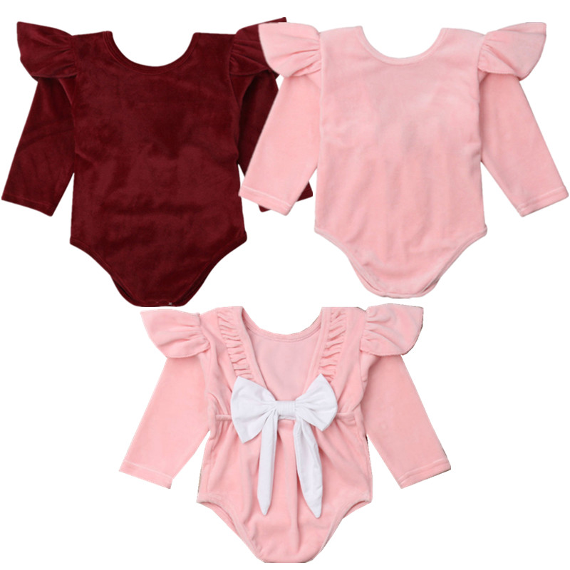 Bowknot Newborn Baby Girls Long Sleeve Jumpsuit Cotton Solid   Romper   Set Outfit
