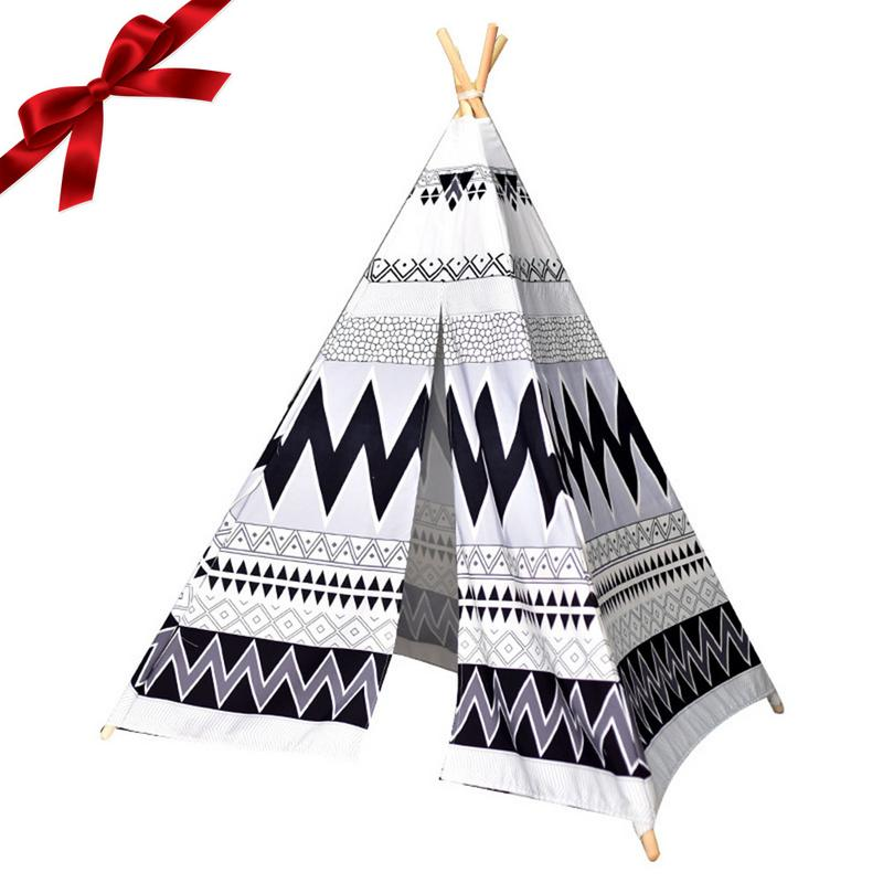 Indian Tent baby play tent Black And White 4 Poles Kids Play Tent Cotton Canvas Teepee Children Toy