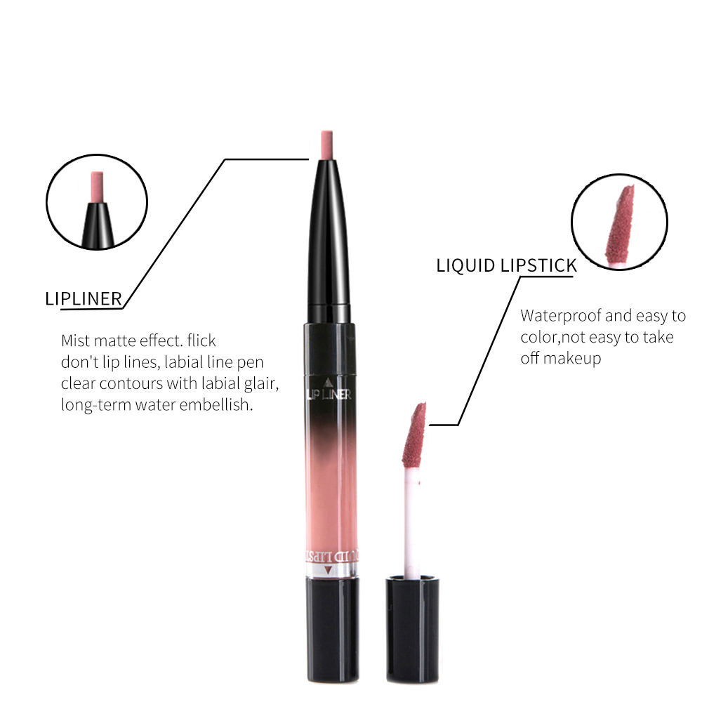 2 in 1 Lip Liner Lipstick Liquid Matte Waterproof Lip liner Contour Easy to Wear Lip Pen Makeup Red Nude Lip Pencil 3