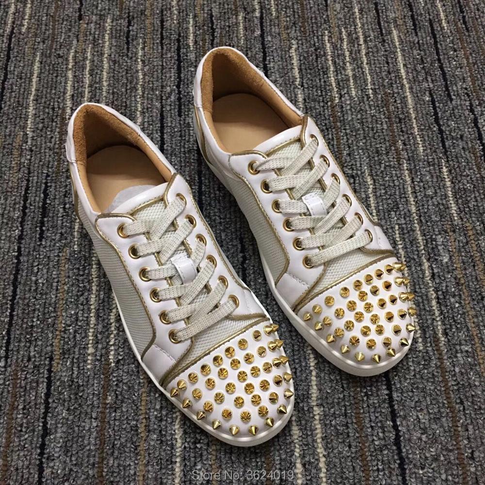 Up Sneakers De Cut Surface Mâle Rouge Cl Low En Chaussures Rivets Or Cuir Dentelle Pour Semelle Luxe Casual Plat Andgz 2018 Blanc Homme Net À 4z5qwaxdq