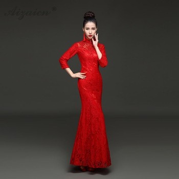 Red Lace Long Cheongsam Chinoise Mermaid Evening Party Dresses Qi Pao Women Chinese Traditional Wedding Dress Bride Gown new cheongsam dress long red lace evening dresses vintage elegant lace lady chinese traditional cheongsam china style wedding